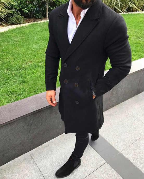 2019 männer Mode Graben Mäntel Herbst Winter Lange Warme Jacke Lässig Slim Fit Mäntel Stehkragen Abrigo Männer Neue Streetwears