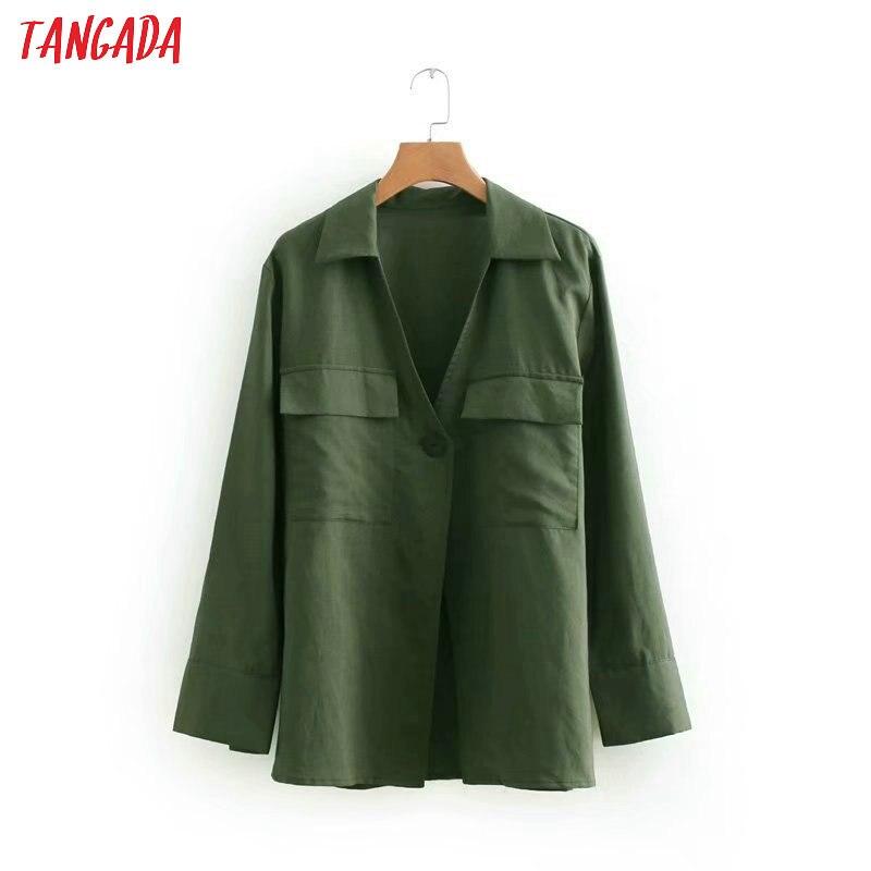 Tangada Women Green Cotton Linen Shirts Long Sleeve V-neck Buttons Elegant Office Ladies Work Wear Blouses XN400