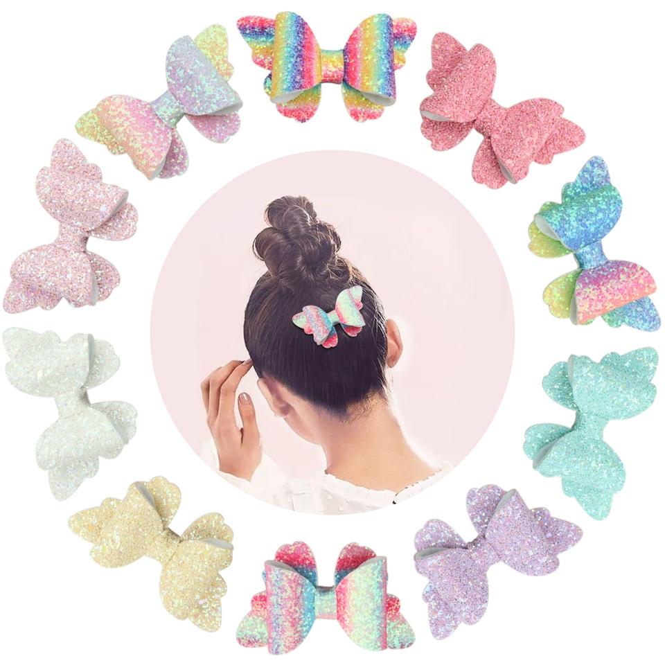 2pcs//set Fofo Lantejoulas Arcos Bebê Meninas Dupla Camada Grampos Glitter clipes de cabelo