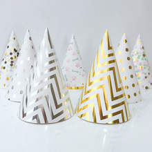 10pcs Bronzing Birthday Hat with Rope Kids Child Party Crown Decoration Gold Silver Striped Conical Hat Paper Cap Party Supplies