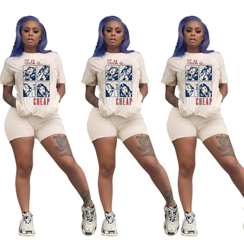 Print Women Short Two Piece Set T-Shirts and Shorts Set Summer Tracksuit Streetwear Sweat Suit Women Set Casual 2 Pieces Outfits heyoungirl casual patchowrk two pieces tracksuit women summer crop top and sweat shorts outfits ladies letter print matching set
