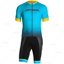 Quality factory custom made Astana Pro Spanish cycling champion Jersey Set summer short sleeve ROPA ciclismo hampre suit