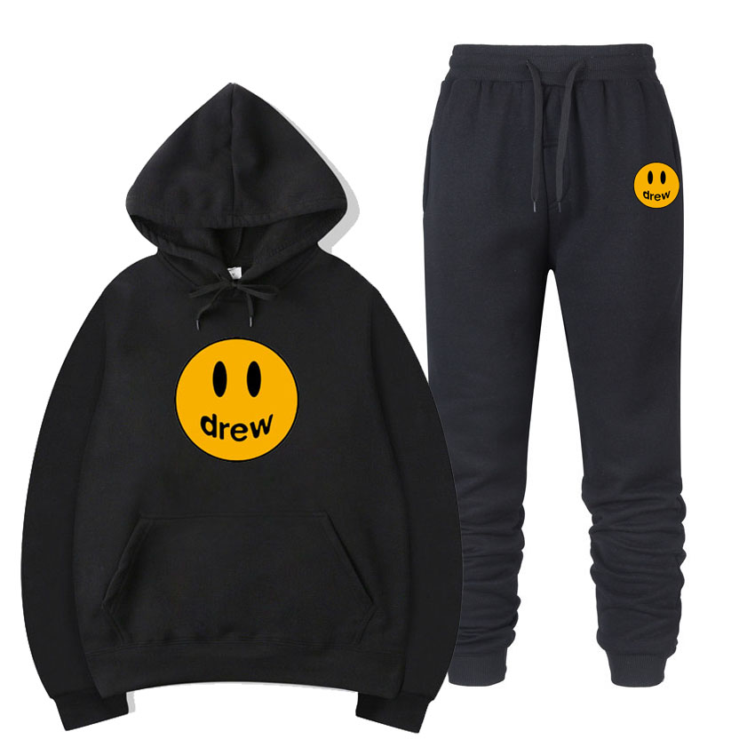 Fashion Hoodie Men Justin Bieber The Drew House Smile Face Women Men Outfit Hoodies Sweatshirts Hip Hop Pullover Winter Fleece