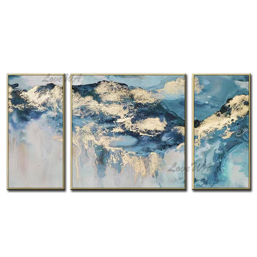 Free Shipping 3PCS As 1 Set Hand painted Oil Wall Art Fashion Home Decoration Abstract Landscape Oil Painting On Canvas