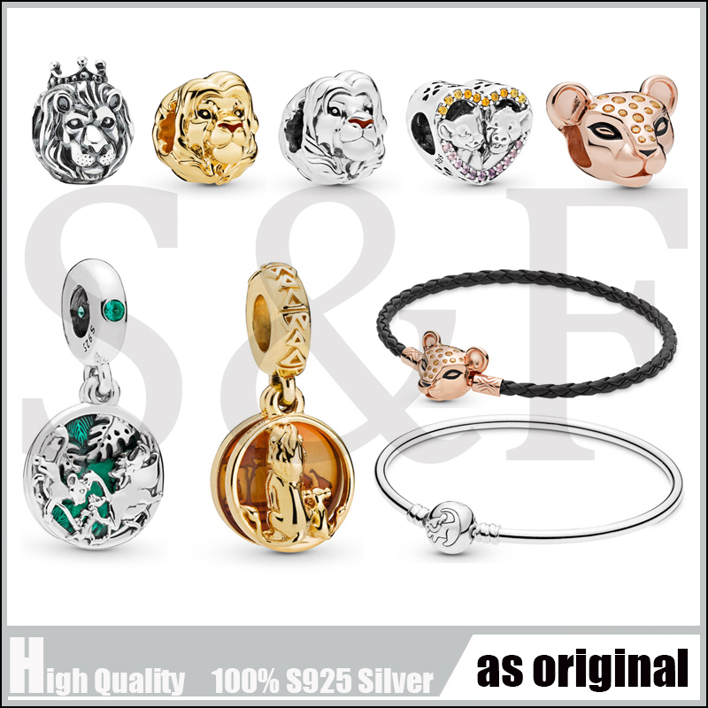 100% 925 Sterling Silver Charm Beads The Lion King Sparkling Simba & Nala Timon & Pumbaa Fit Original Pandora Bracelet Jewelry