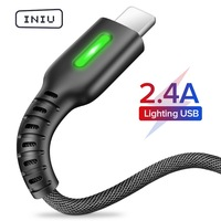 INIU 3m 2.4A LED USB Cable Charger For iPhone 11 Pro XS MAX XR X 8 7 6S 6 Plus 5 5S Fast Charging Mobile Phone Charge Data Cord