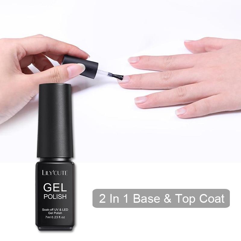 LILYCUTE 7ML 2 IN 1 Base Top Coat Matte Nail Gel Varnish UV Nail Gel Polish Long Lasting Base Top Coat Permanent Nail Gel