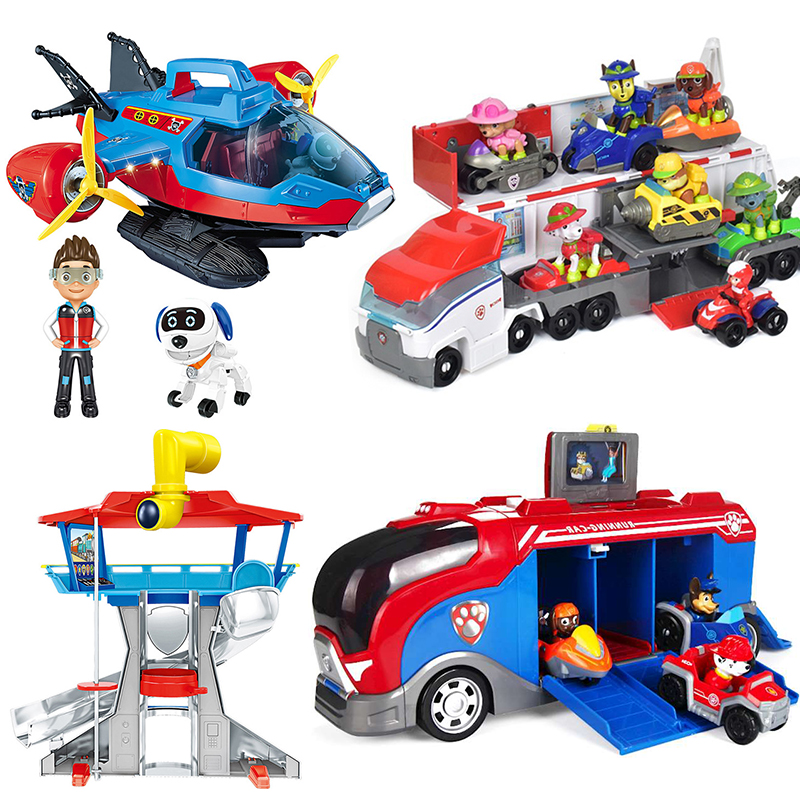 Paw Patrol Rescue Bus Dog Aircraft Captain Patrulla Canina Toys Rescue Base Command Center Puppy Patrol Set Action Figures Gifts