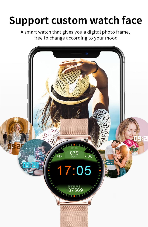Hed1a09e1ebb240b5ae3a311749d2fb659 2021 New Full circle touch screen Women smart watch Luxury steel Watch Band Fashion smartwatch Sport Activity tracker For Xiaomi