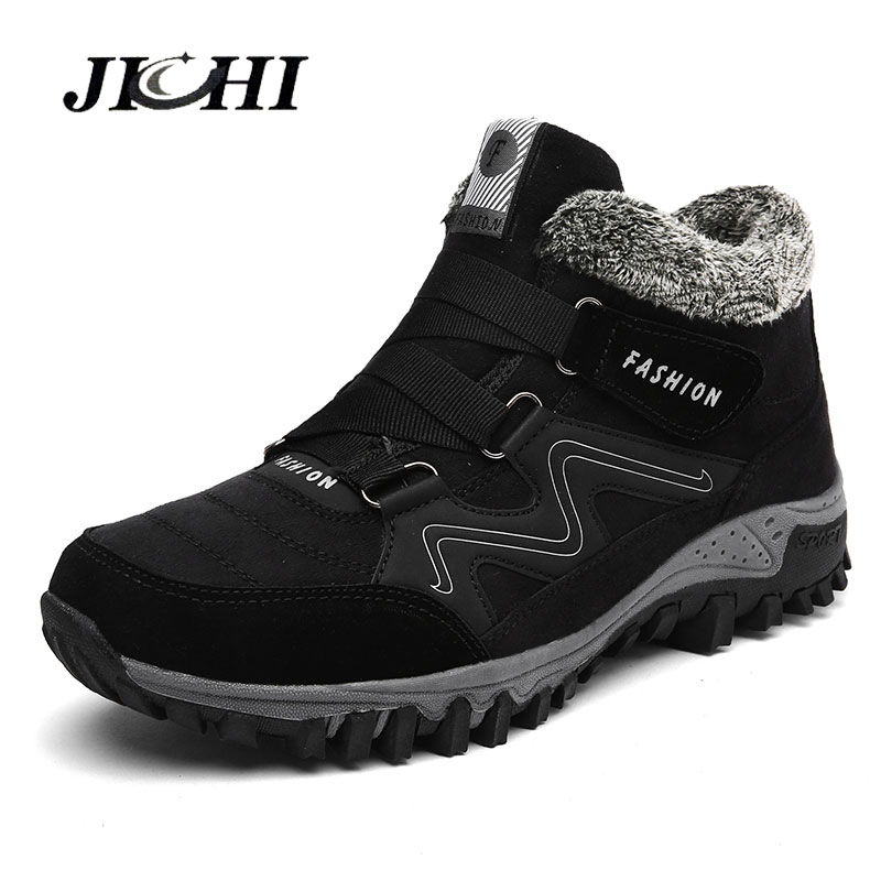 New Winter Men Boots Fur Warm Ankle Snow Boots Waterproof  Winter Shoes Comfortable Outdoor Work Shoes Big Size 2019