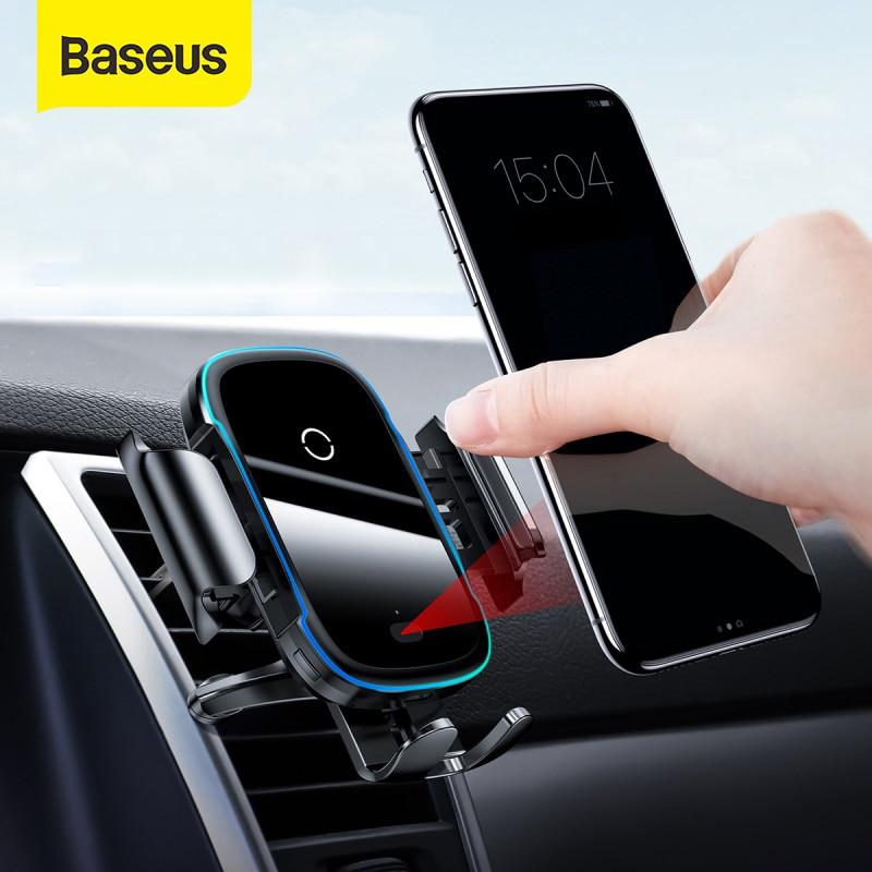 Baseus-Cargador inalmbrico para el coche cargador rpido de 15W por infrarrojos con soporte para la rejilla de ventilacin