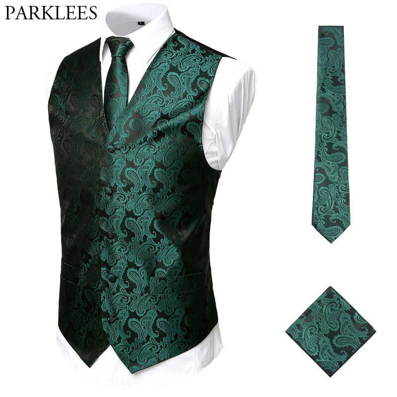 Green Paisley Mens Vest Set Slim Fit Casual Vest Men (Vest+Necktie+Pocket) 3pcs Classic Jacquard Wedding Waistcoat Men Suit Vest