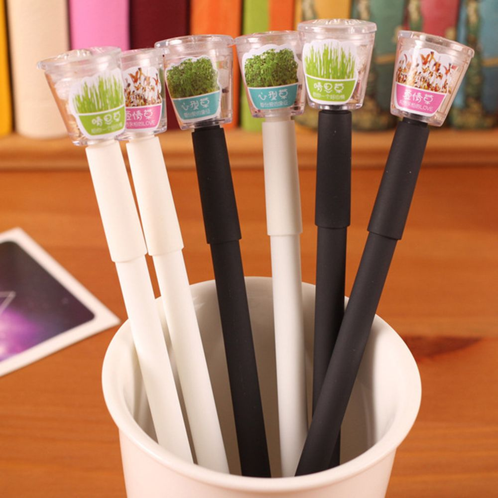 New Creative Cultivate Plant Gel Pen 0.5mm Black Ink Garden Grow Grass Pen School Office Stationery Lovely Children Lovers Gift