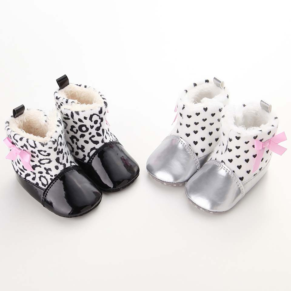Cute Baby Girls Winter Warm Snow Shoes Soft Bottom PU Leather First Walker Crib Boots Toddler Shoe Infant Leopard Print Footwear