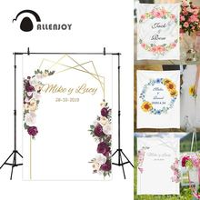 Allenjoy photography backdrops floral golden frame wedding Valentine 14 february flower photocall custom background photophone