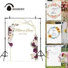 Allenjoy photography backdrops floral golden frame wedding Valentine 14 february flower photocall custom background photophone