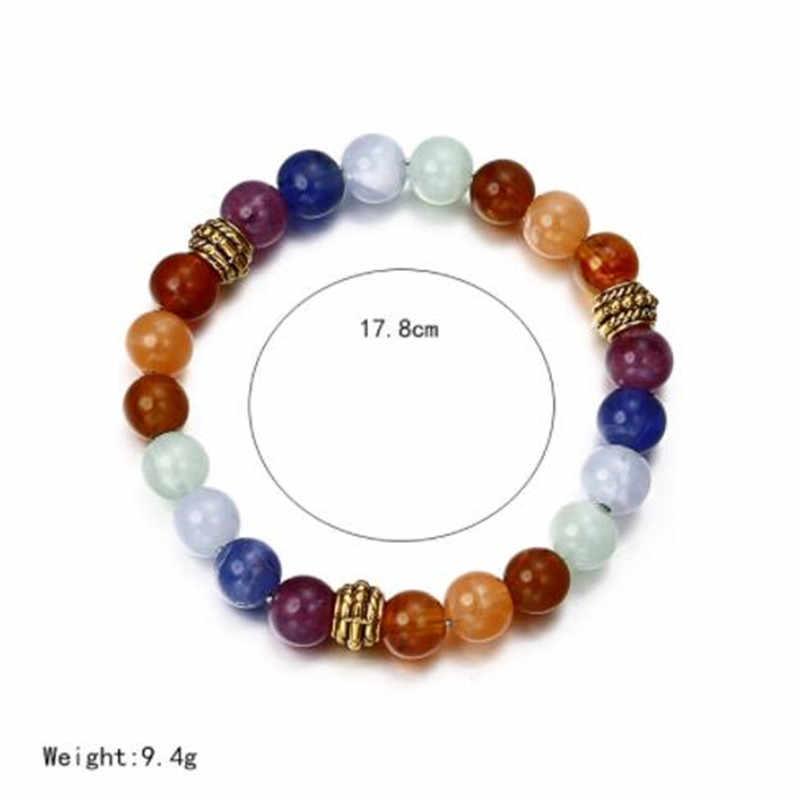 WKOUD Chakra Bracelet de perles de guérison pierre de lave naturelle Bracelet de perles d'oeil de tigre pour les femmes hommes mode bijoux de Yoga livraison directe