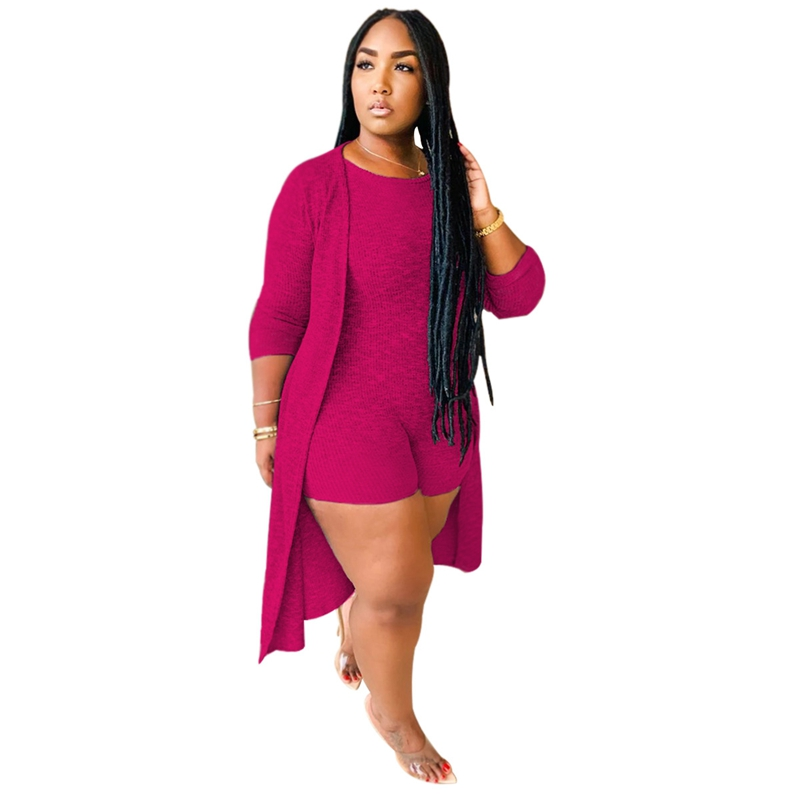 Autumn Ribbed 2 Piece Set Women Clothing Fall Casual Long Cardigan and Short Jumpsuit Set Bodycon 2 Piece Sets Womens Outfits