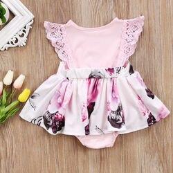 Цветочное кружевное платье для маленьких девочек, платье для новорожденных, комбинезон, розовый сарафан, одежда