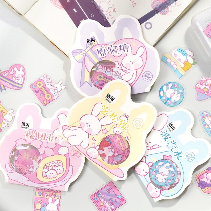 40 Pcs/bag Cute Cherry Rabbit Series Journal Decorative Stickers Scrapbooking Stick Label Diary Stationery Album Kawaii Stickers