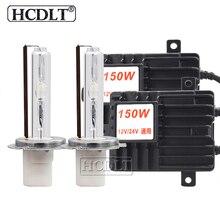 HCDLT 2020 جديد السوبر مشرق 150 واط HID مجموعة مصابيح سيارة 12 فولت 24 فولت سيارة ضوء زينون الصابورة عالية الطاقة H1 H3 H7 H11 9005 D2H hid لمبة عدة
