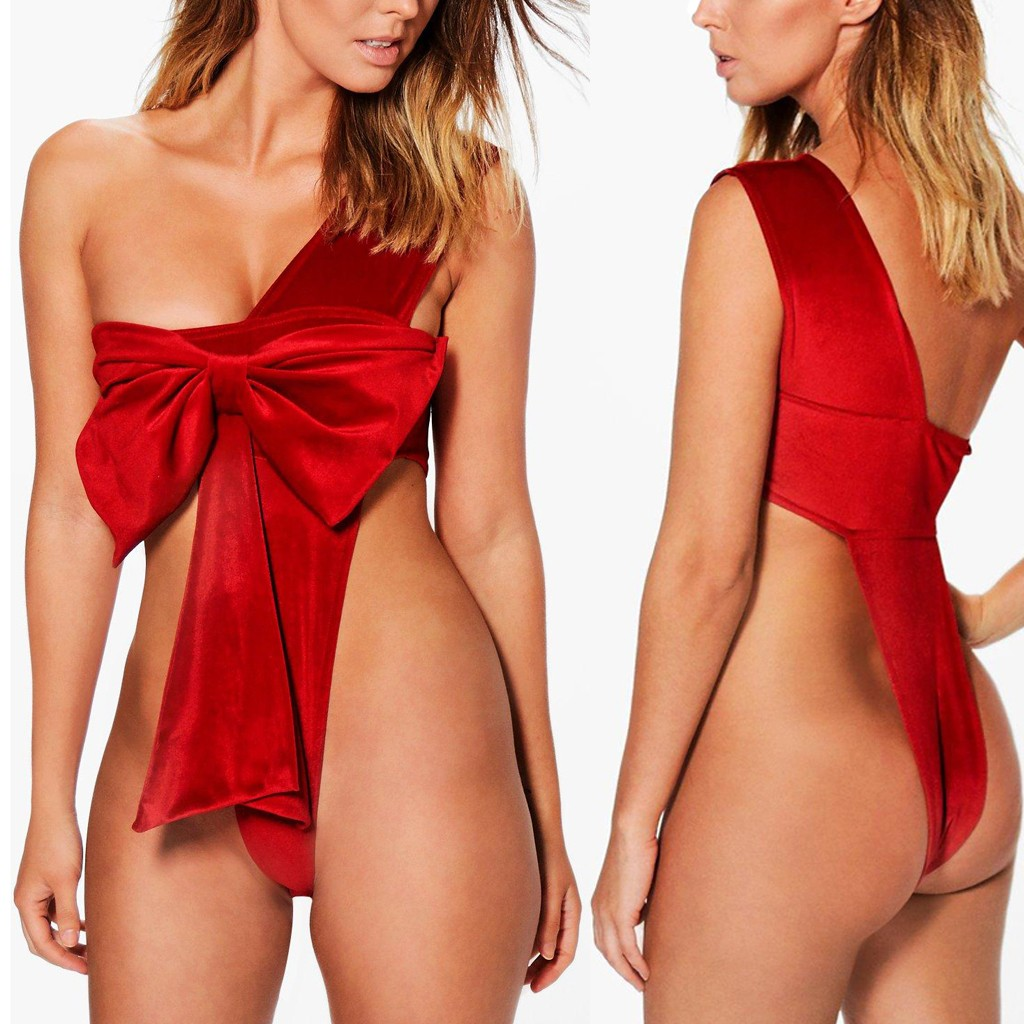 New Women Sexy Christmas Festival Bowknot Backless Bodysuit Ladies Suede Red Pajamas Female Solid Winter Sleeveless Sleepwear