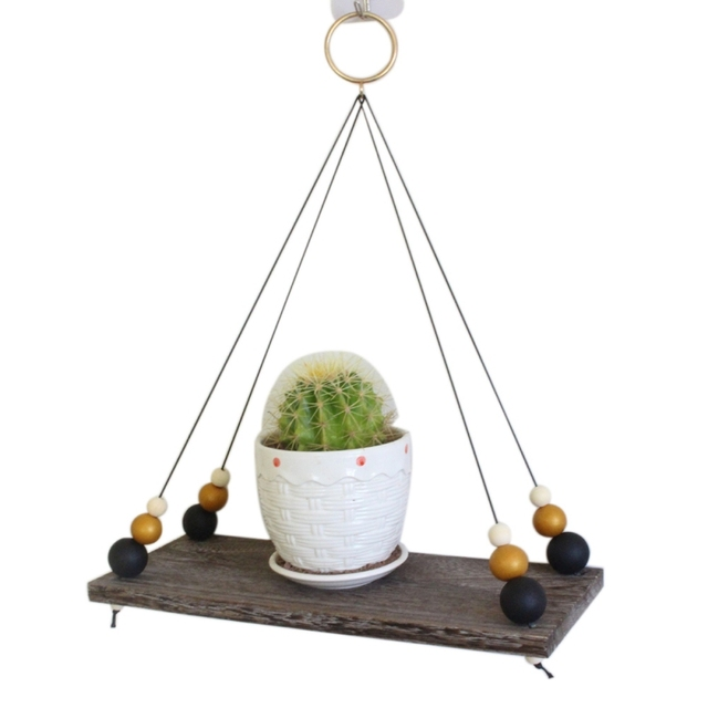 Retro Wooden Decoration Shelf With Wooden Beads Household Wall Hanging Rack For Plant Decoration Wall Hanging Shelf