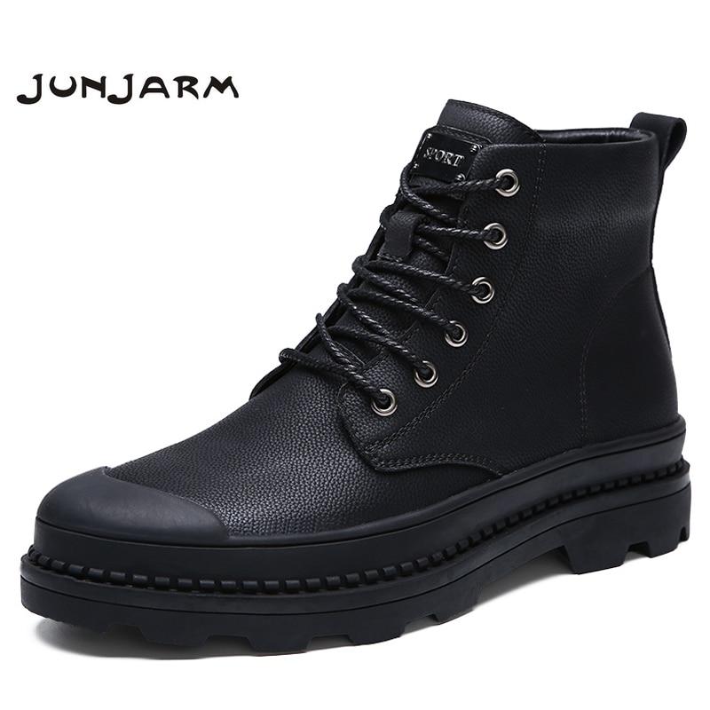 JUNJARM Genuine Leather Motocycle Men Boots Men Winter Shoes Quality Men Work Boots Warm Men Snow Boots Big Size 38-47