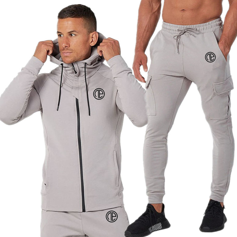 Autumn New Men Hoodies Pants 2Pcs/Sets Sweatshirt Sweatpants Male Gyms Fitness Tops Trousers Joggers Sportswear Tracksuits