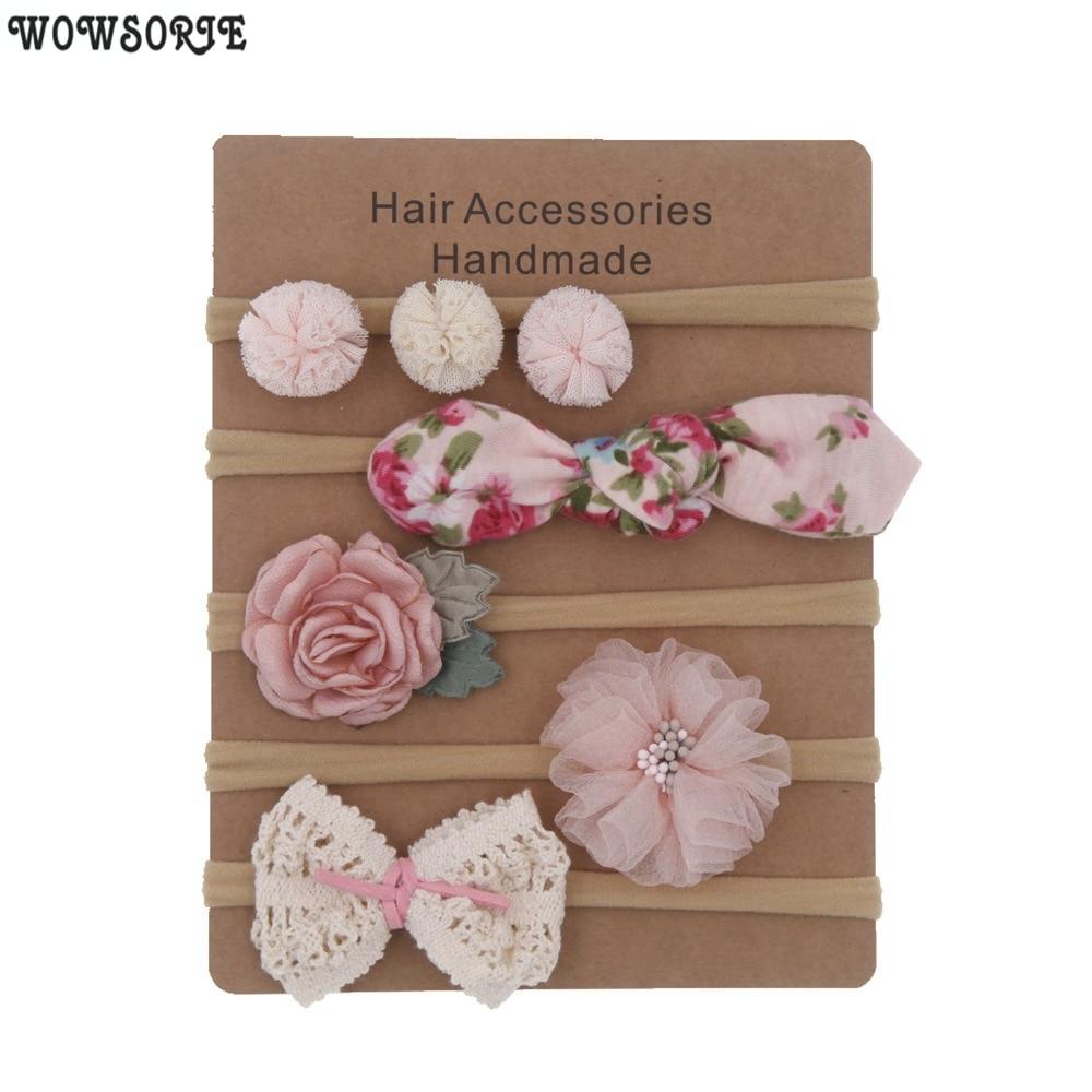 Baby Headbands Newborn hair Bows Kids Toddler headband Elastic Hair Band headwear children Girl Hair Accessories 5pcs/lot