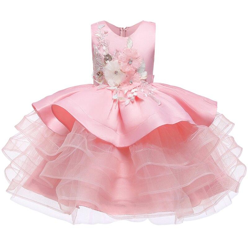 Вечерние платья с вышивкой для девочек; свадебные вечерние платья для девочек с цветами и бусинами; Детский карнавальный костюм Pengpeng - Цвет: pink