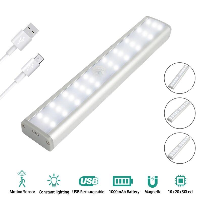 30led luz do armário 3 modos de controle brilho pir sensor movimento lâmpada para roupeiro armário usb recarregável iluminação dropshipping