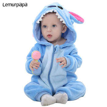 Baby Cartoon Romper Stitch Onesie Toddler Boy Girl Pajama Winter Clothes Child Kids Anime Costume Newborn baby Kigurumis Outfit