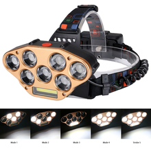 7LED+1COB LED Bright Head Light with USB Charging 5 Modes Flashlight  Waterproof Outdoor Camping Headlights Fishing Hunting