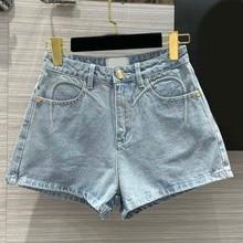 Streetwear Blue Short Jeans for Women Summer 2021 New Embroidery Letter Beading Pocket Jean Shorts High Waist Denim Shorts Lady