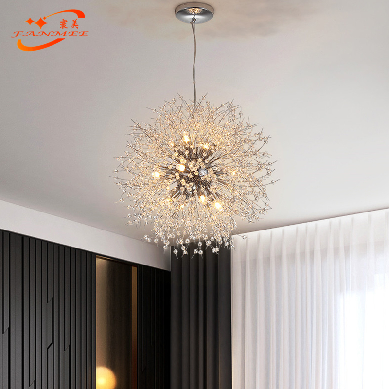 Hed1bb3c88e654fadb0678ef2854dfb92t Modern LED Crystal Chandelier Light Pendant Hanging Lamp Dandelion Cristal Chandelier Lighting for Living Dining Room Decoration