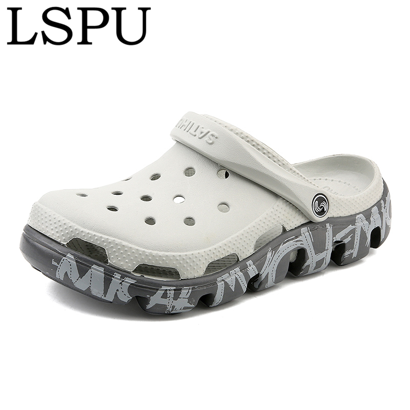 High Quality Summer Men Clogs Slip On Breathable Lightweight Water Beach Slides Jelly Slippers Crocks Garden Shoes Plus Size 47