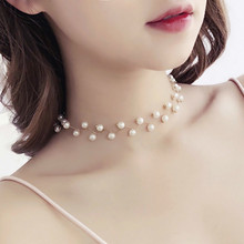 Fashion Simulated Pearl Choker Necklace 2020 Korean Style Statement Necklaces For Women Clavicle Chain Bridal Accessories retro women s exaggeration mixing crystal ball necklace pearl turquoises short clavicle chain statement choker necklace jewelry