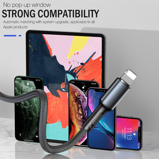 3A Fast Charging USB Charger Cable For iPhone 12 11 Pro X XR XS Max 6 6s 7 8 Plus 5s SE 2020 iPad Origin Data Cord Long Line 3m 5