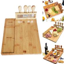 Bamboo Cheese Board Wood Cutlery Knif Set Cheese Knife Kitchen Cut Slicer Accessories Cooking Gadgets Home Scoop Tools Fork M5V6