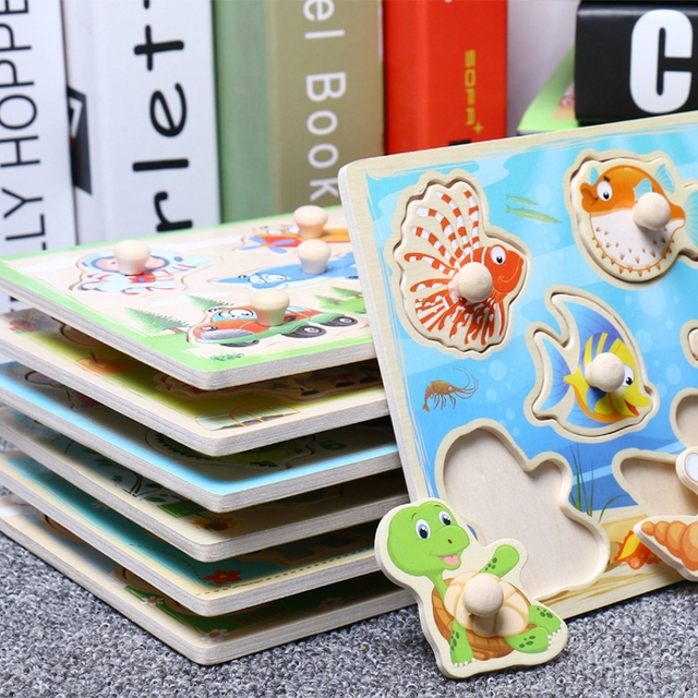 Jigsaw Puzzles Wood Hand Grab Animal Toy For Children Puzzles for kid Cognition Montessori Baby Toy Cartoon Wooden Puzzle  Gifts