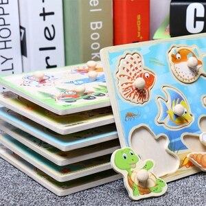 Image 1 - Legpuzzels Houten Hand Grab Dier Speelgoed Voor Kinderen Puzzels Voor Kid Cognitie Montessori Baby Speelgoed Cartoon Houten Puzzel Geschenken