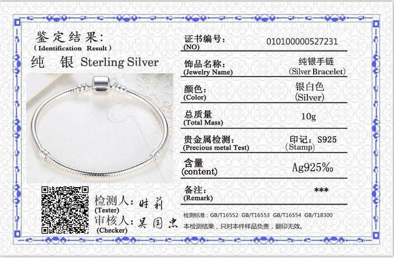 Met Certificaat Originele Bedelarmband Solid 925 Zilver 3 Mm Snake Chain Fit Pan Bedels/Kralen Basic Armbanden Vrouwen diy Sieraden