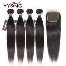 Yyong düz saç 4 demetleri ile kapatma ile brezilyalı insan saçı örgüsü demetleri ile 4X4 dantel kapatma Remy saç ekleme