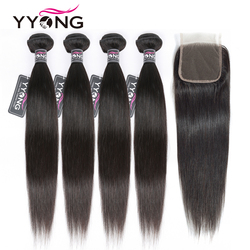 Yyong Straight Hair 4 Bundles With Closure Brazilian Human Hair Weave Bundles With 4X4 Lace Closure Remy Hair Extensions
