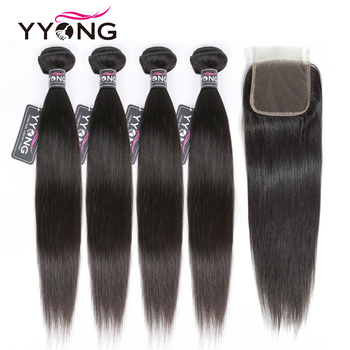 цена на Yyong Straight Hair 4 Bundles With Closure Brazilian Human Hair Weave Bundles With 4X4 Lace Closure Remy Hair Extensions