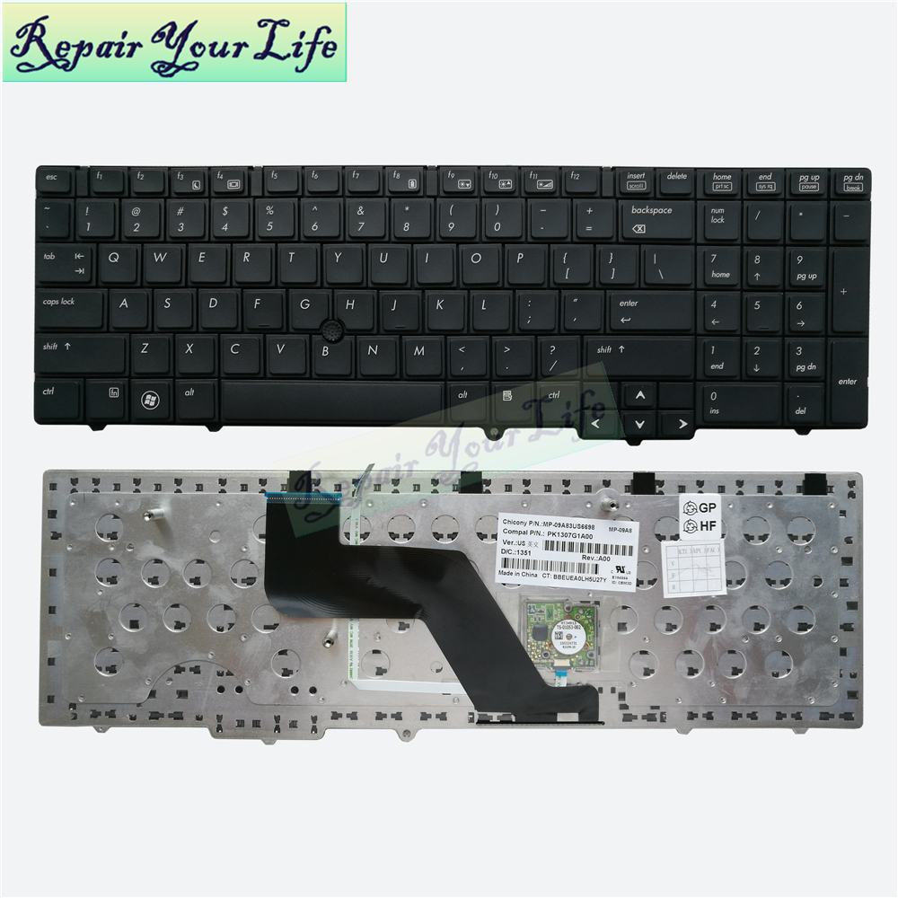 laptop <font><b>keyboard</b></font> for <font><b>HP</b></font> for EliteBook <font><b>8540p</b></font> 8540w US English black standard PK1307G1A00 MP-09A83 good quality image