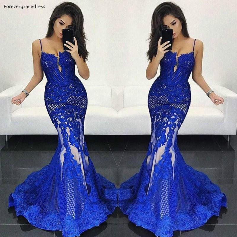 2019 Royal Blue   Prom     Dress   New Arrival Mermaid Long Backless Formal Holidays Wear Graduation Evening Party Gown Custom Made