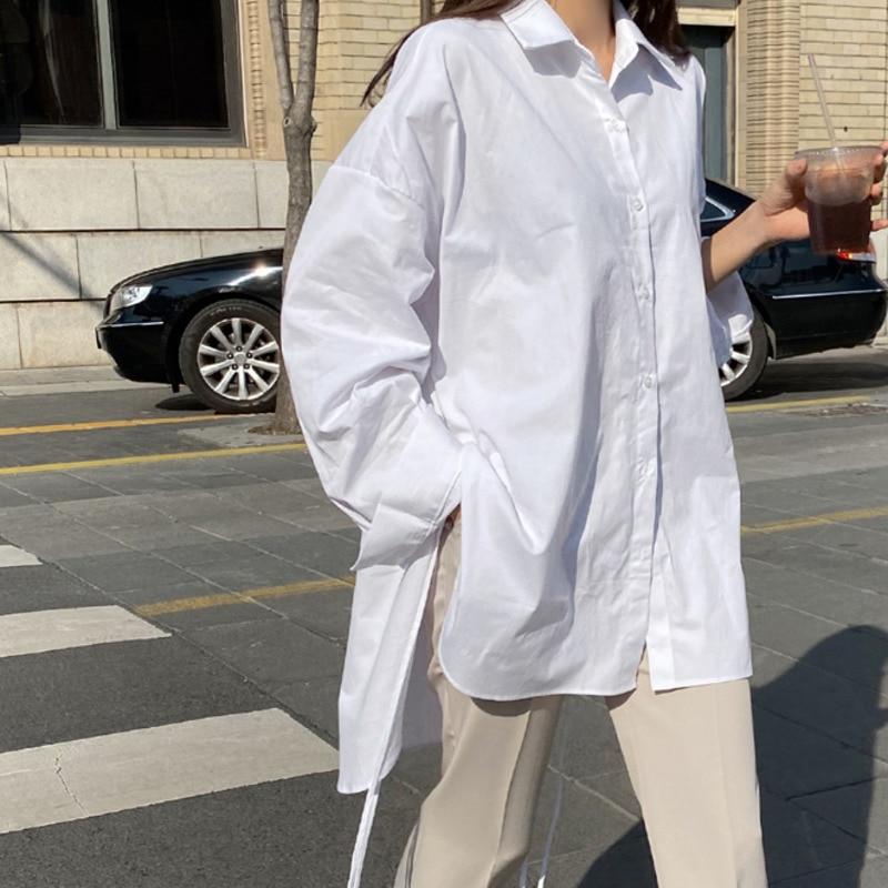 Spring  Sweet Turn-down Collar Womens Tops And Blouses Long Sleeve  Sweet Side Split Plus Size Ladies Shirt 8