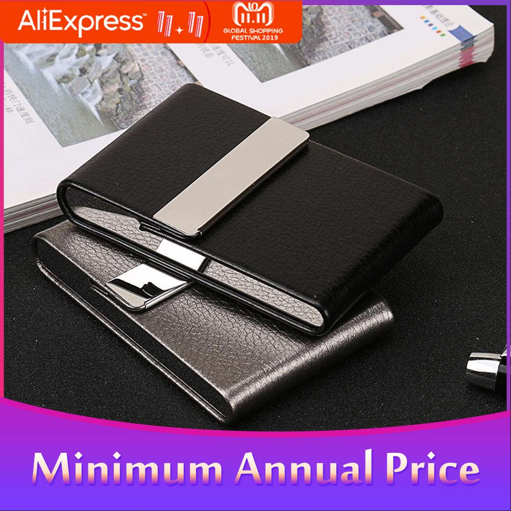 Men Metal Leather Card Case Holder For Business ID Card Storage